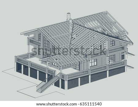 Authors project blueprint wooden house glued stock photo photo the authors project blueprint of a wooden house from glued profiled beam with the rafters malvernweather Image collections