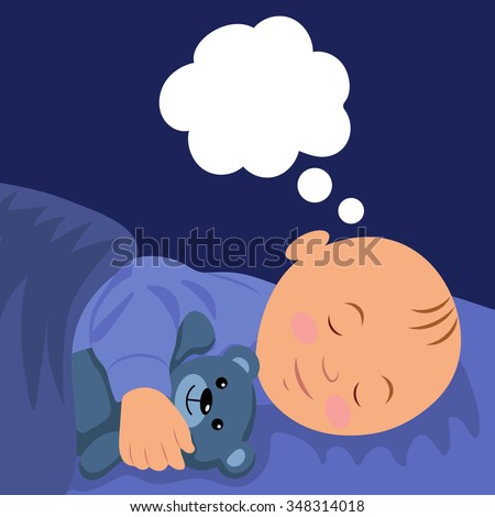 The baby is asleep hugging teddy bear. Vector illustration of a baby sleep. - stock vector