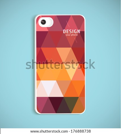 The back of smart phone. Example of design cover.Vector illustration with realistic lens. - stock vector