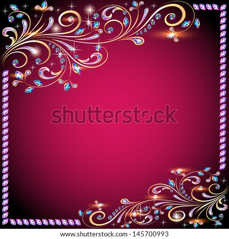 The background image with precious stones, gold pattern and the stars