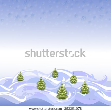 The background: landscape with Christmas trees and snowflakes. EPS10 vector illustration. - stock vector