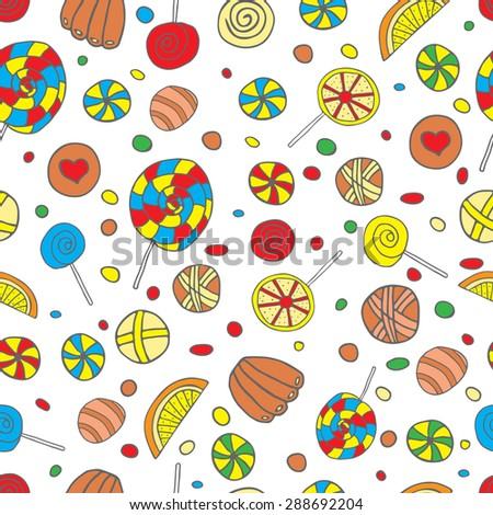 The background of bright candy, lollipops and chocolates. Vector seamless pattern illustration drawn by hand. To decorate the cards, websites and other design ideas - stock vector