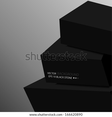 The background with black stones stacked in a pyramid. Tower for meditation. Template for the website. vector. Strict minimalist style