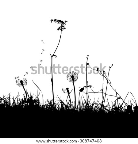 The Background with Dandelions and Weeds. Vector illustration - stock vector
