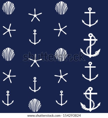 the background with starfishes, shells and anchors - stock vector