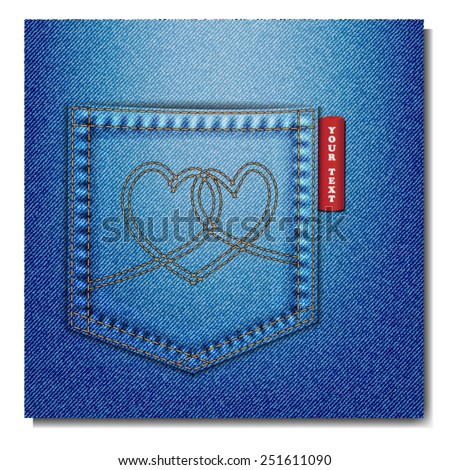 The bag of blue jeans with hearth denim. - stock vector