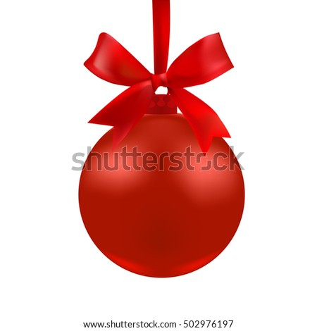 The ball of red color with a bow. Vector illustration