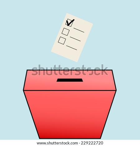 The ballot box. Completed application form with a check mark. - stock vector