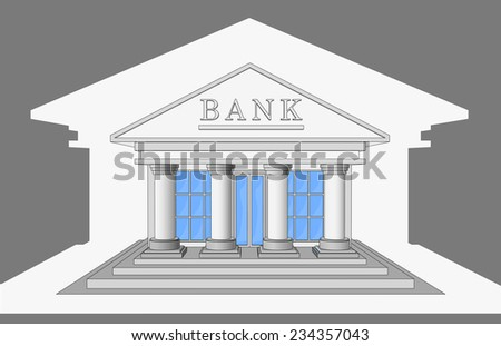 The Bank building, front view. Isolated objects.