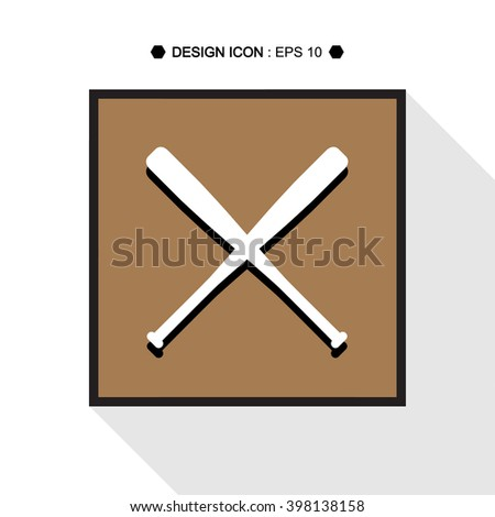 The Baseball Crossed Bats Vector EPS10, Great for any use. - stock vector