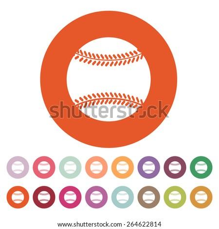 The baseball icon. Game symbol. Flat Vector illustration. Button Set - stock vector