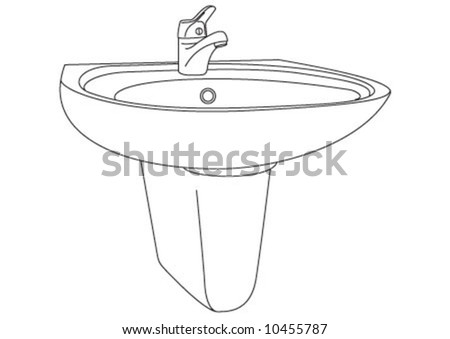 The bath room sink in line style. - stock vector
