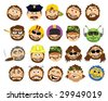 The Bearded Cartoon Dad Collection - Vector Illustration - stock photo
