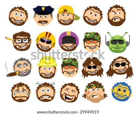 The Bearded Cartoon Dad Collection - Vector Illustration - stock vector