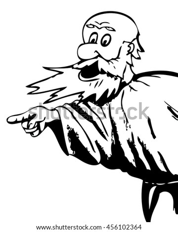 The bearded man in anger, pointing his finger. Caricature - stock vector