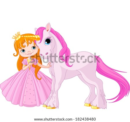 The beautiful princess and cute unicorn - stock vector