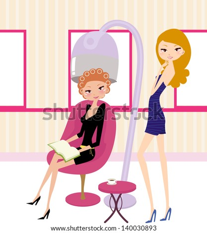 the beautiful woman in hairdressing salon
