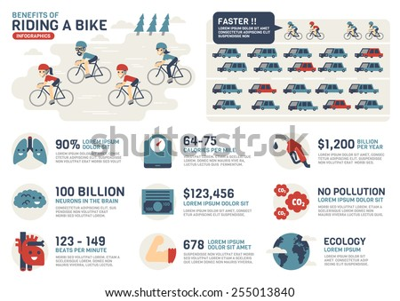 The Benefits of Riding a Bike - stock vector