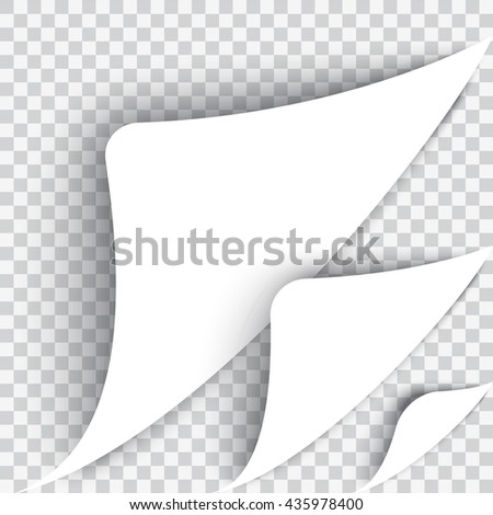 The bent page corner. The white sheet on a transparent background. Realistic vector. A set of three kinds. Flip the page concept. - stock vector