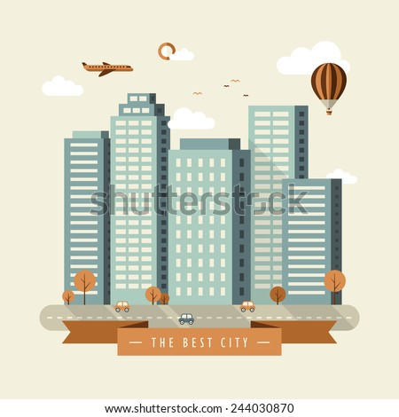 the best city illustration design in flat design - stock vector