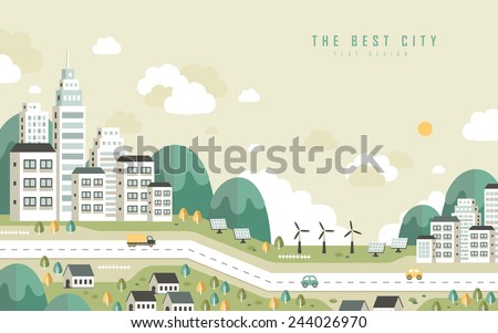 the best city scenery in flat design style - stock vector