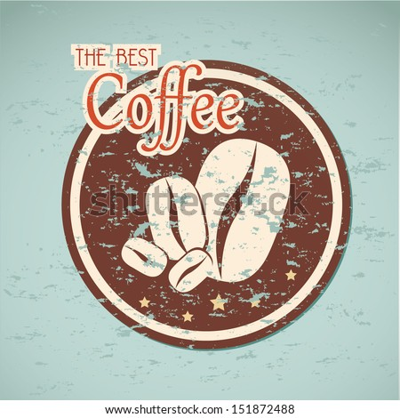 the best coffee label over blue background vector illustration