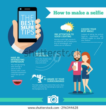 The best selfie tips. How to make a selfie infographic. Phone and photo, portrait instruction, device and equipment, creative smart mobile picture. Vector illustration - stock vector