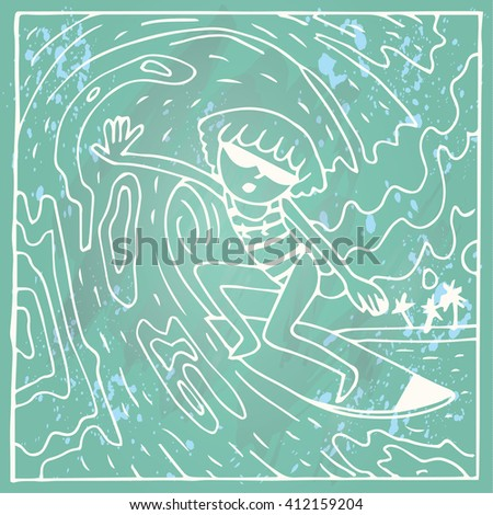 The BEST SUMMER EVER Background. Surfer girl riding a wave. - stock vector