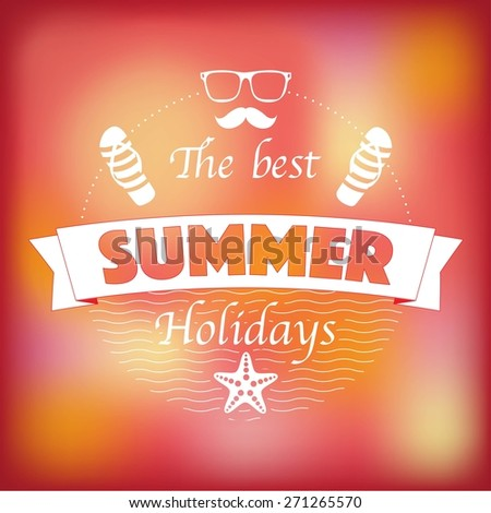 The best summer holidays retro emblem - stock vector