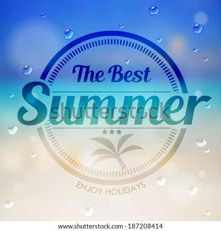 the best summer label with coconut tree on summer beach background vector - stock vector