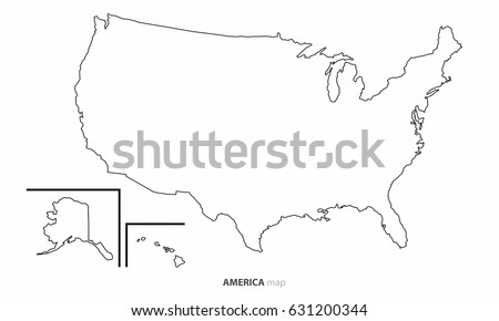 High Detailed Vector Map United States Stock Vector - Usa map outline with states