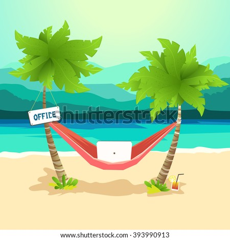 the best workplace work with pleasure  hammock between palms work with laptop on best workplace work pleasure hammock between stock vector      rh   shutterstock
