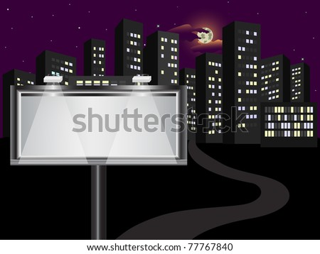 The big billboard in the night city. Vector. - stock vector
