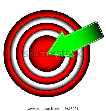 The big round purpose with a green arrow - stock vector