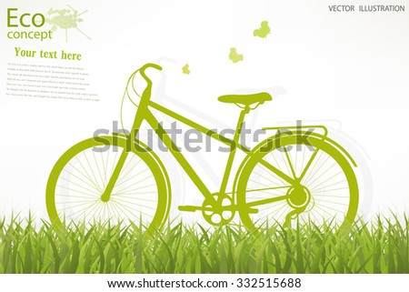 The bike on the grass. Environmentally friendly world. Vector illustration of ecology the concept of info graphics modern design.