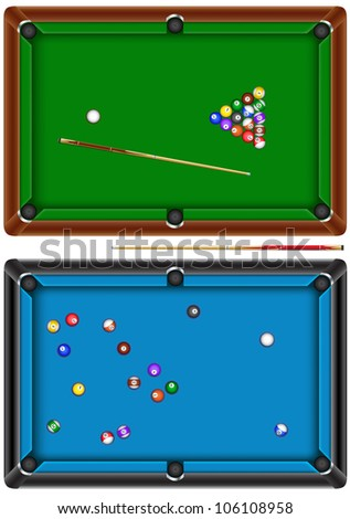 The billiard table with a cue and balls isolated on a white background - stock vector