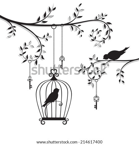 The bird in the cage. Vector illustration - stock vector