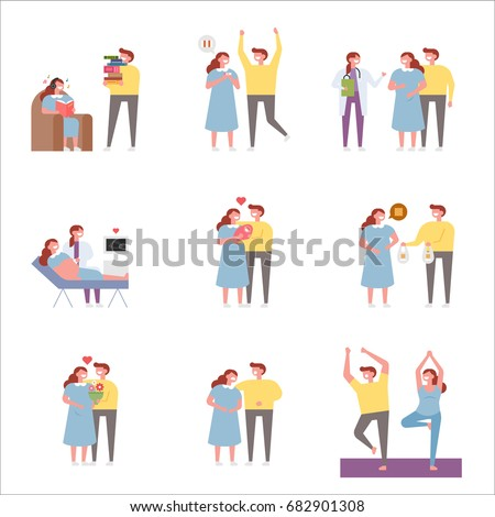 The Birth of a New Family vector illustration flat design