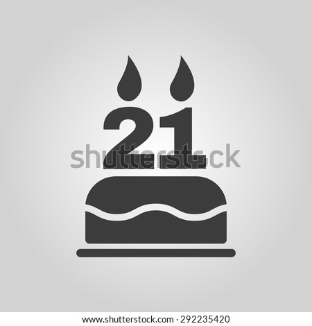 The birthday cake with candles in the form of number 21 icon. Birthday symbol. Flat Vector illustration - stock vector