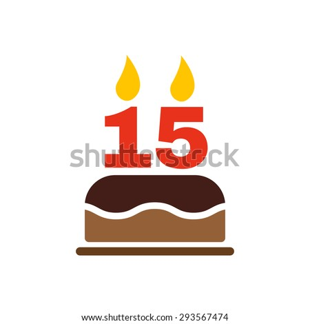 The birthday cake with candles in the form of number 15 icon. Birthday symbol. Flat Vector illustration - stock vector