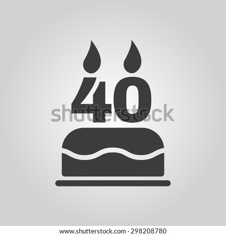 The birthday cake with candles in the form of number 40 icon. Birthday symbol. Flat Vector illustration - stock vector