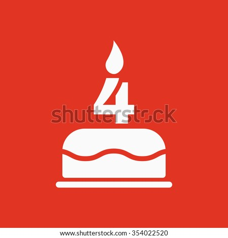 The birthday cake with candles in the form of number 4 icon. Birthday symbol. Flat Vector illustration - stock vector