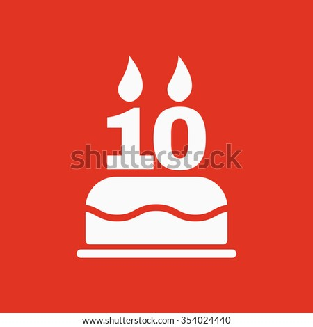 The birthday cake with candles in the form of number 10 icon. Birthday symbol. Flat Vector illustration - stock vector