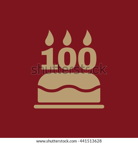 The birthday cake with candles in the form of number 100 icon. symbol. Flat Vector illustration - stock vector