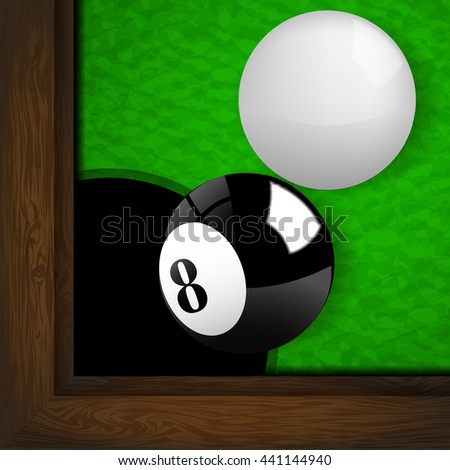 The black and white ball on the green woolen fabric of snooker table.(EPS10 art vector)
