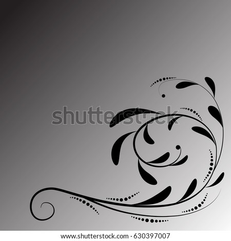 The black floral ornament on the black-white gradient background.