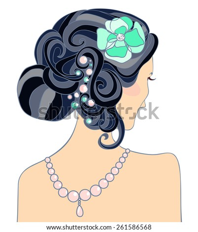 The black-haired girl with a wedding hairstyle. Vector illustration - stock vector