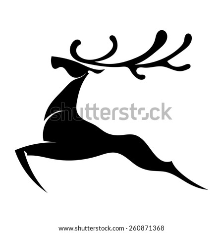 The black silhouette of a deer jumping with big horns. Isolated. Vector illustration. - stock vector