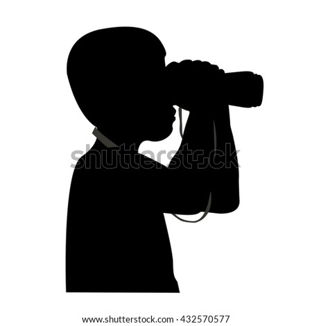 The black silhouette of a man with binoculars. Vector illustration.