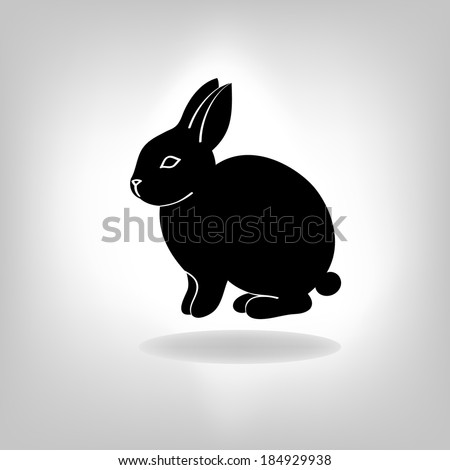the black stylized silhouette of a rabbit, hare - stock vector